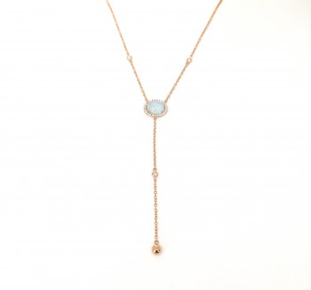 18K moonstone diamond bezel chain lariat necklace