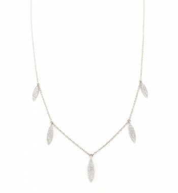 mini diamond leaf drip necklace
