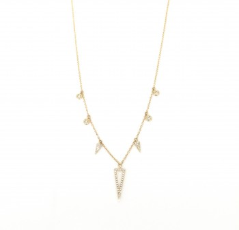 diamond triangle bezel drip necklace