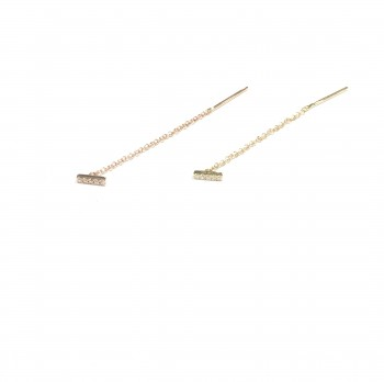 diamond bar threader earrings