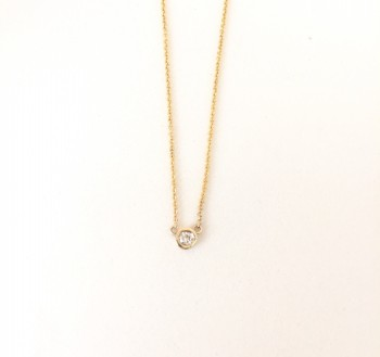Petite diamond solitaire bezel necklace
