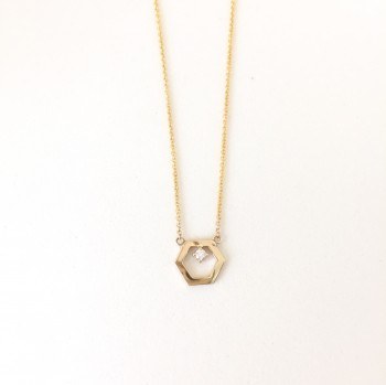 Hexagon Petite Diamond Prong Necklace