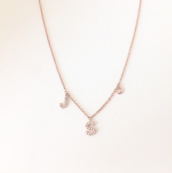 double initial diamond necklace with petite bezel diamond