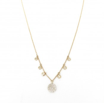 diamond disc bezel drip necklace