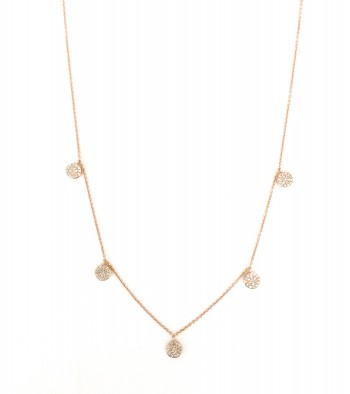 diamond 5 disc drip necklace