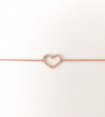 14K gold open heart diamond bracelet