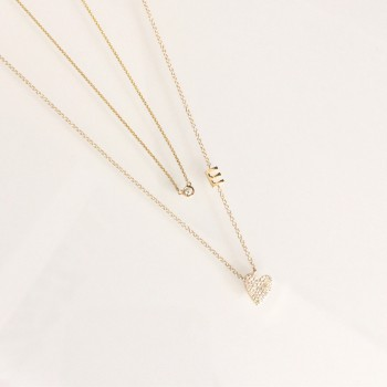 Diamond Heart Initial Necklace