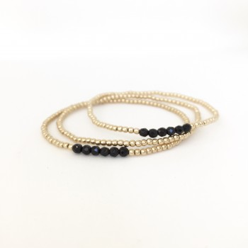 2mm gold filled bracelet with onyx