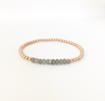 3mm gold filled bracelet with labradorite and silver cz roundel