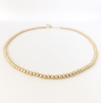 3mm gold filled bead choker necklace