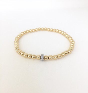 4mm gold filled bead bracelet with silver cz roundel