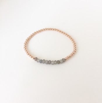3mm gold filled bead bracelet with labradorite