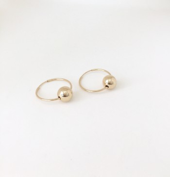 14K gold filled sphere hoop earrings