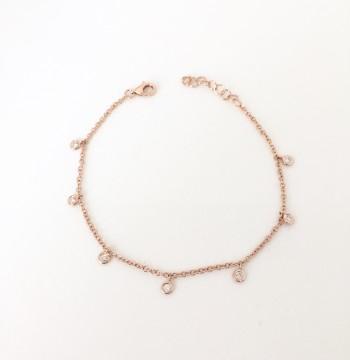 14k diamond bezel droplet bracelet