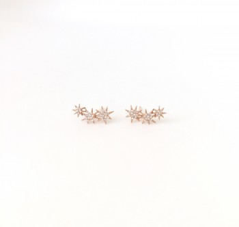 Triple Diamond Starburst Earrings