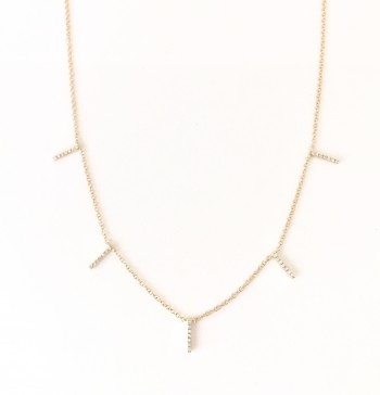 Multi Diamond Bar Necklace