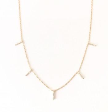 Multi Diamond Bar Necklace