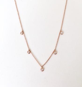 14K 5 diamond bezel droplet necklace