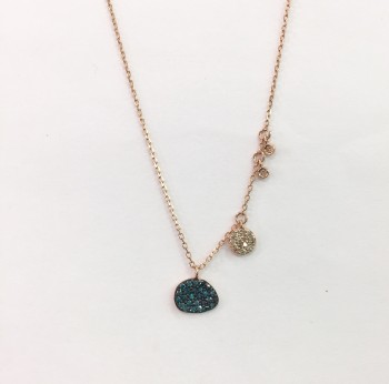 blue diamond disc necklace
