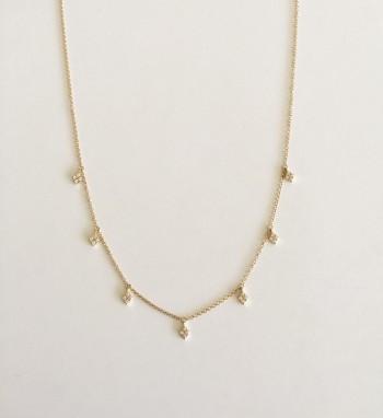 white diamond shape droplet choker necklace