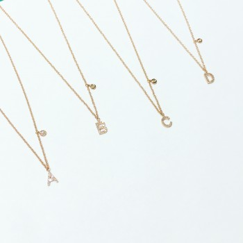 diamond initial petite bezel diamond necklace