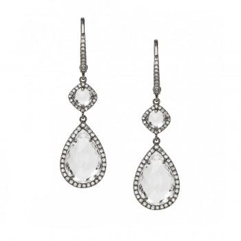 Black rhodium white topaz pear drop hoop earrings