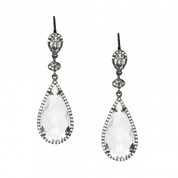 Black rhodium white topaz pear drop earrings