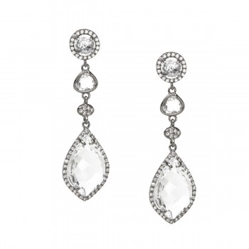 Black rhodium white topaz triple drop earrings