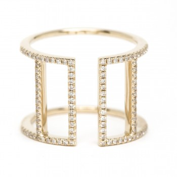 Diamond double vertical bar ring