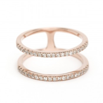 Diamond double spiral ring