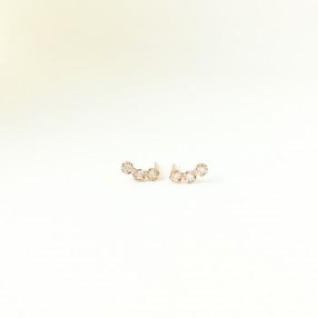 Petite trio diamond earring studs