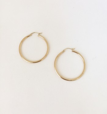 "14K Yellow Gold 1.5"" Hoop Earrings"