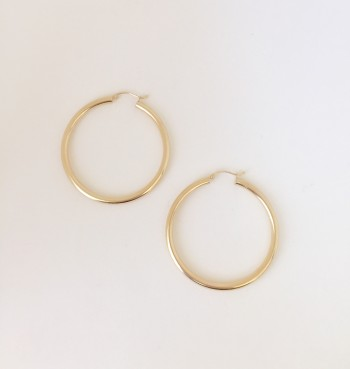 14K Yellow Gold Thick Hoop Earrings