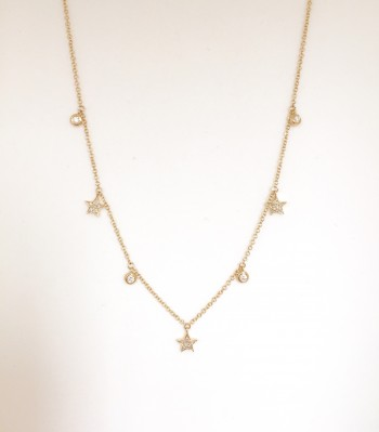 14K Diamond Star and Bezel Necklace