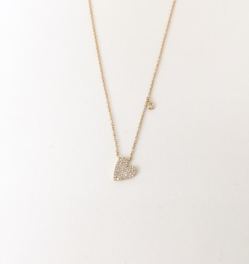 Diamond Tilted Heart Necklace