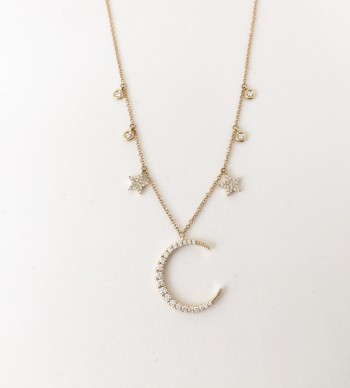 14K diamond crescent moon necklace with stars and bezel diamonds