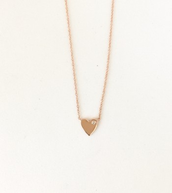 14K Gold Heart with Petite Diamond
