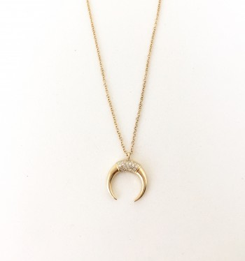 Diamond Crescent Horn Necklace