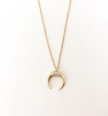 Diamond Crescent Horn Necklace