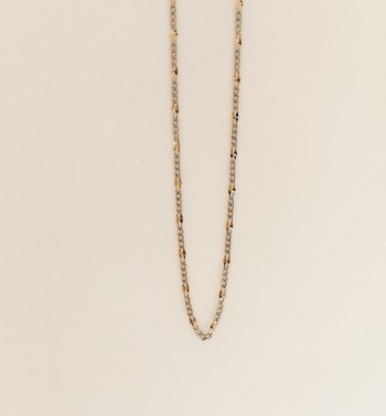14K solid gold two tone yellow and white figaro chain