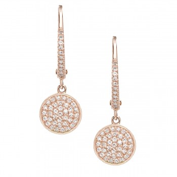 Round disc diamond hoop earrings