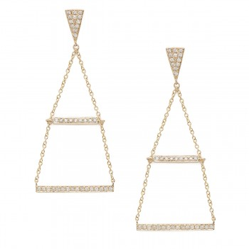 14K Yellow gold bar triangle chain dangle earrings