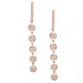 Multi round diamond disc drop earrings