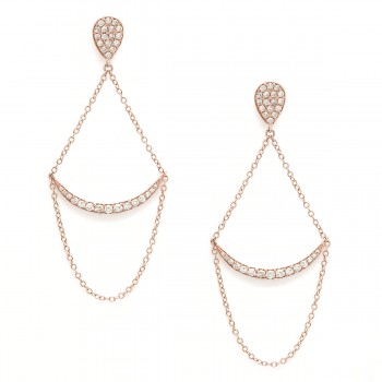 14K Rose gold curved bar chain dangle earrings