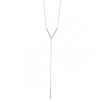 V lariat double diamond bar necklace