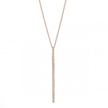 14K diamond stick necklace