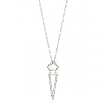 Diamond triangle dagger necklace