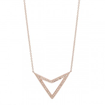 Chevron triangle diamond necklace