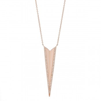 Diamond long triangle dagger necklace