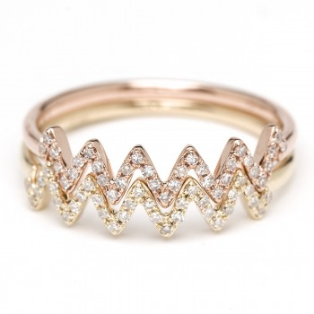 Diamond ziggy stack ring